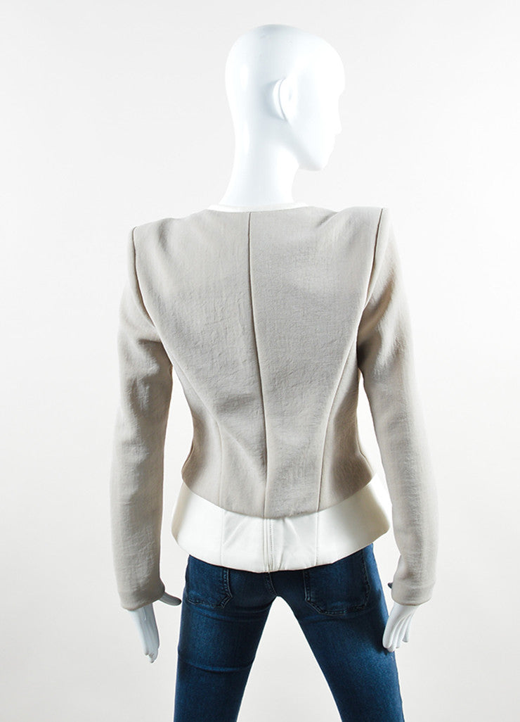 "Iro Grey and White Knit and Leather Peplum ""Clyde"" Blazer Backview"