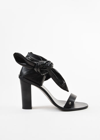 "IRO Black Leather Ruched Ankle Strap Block Heel ""Ophee"" Sandals Sideview"