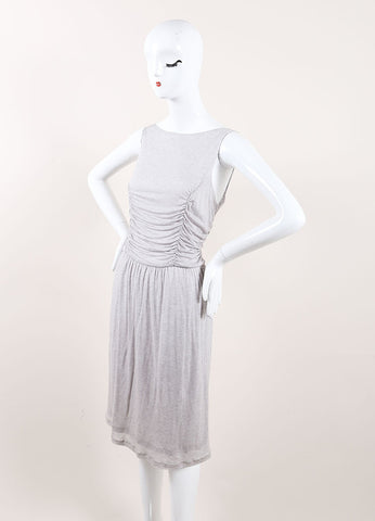 Jason Wu New With Tags Grey Cashmere and Silk Jersey Knit Ruched Sleeveless Dress Sideview