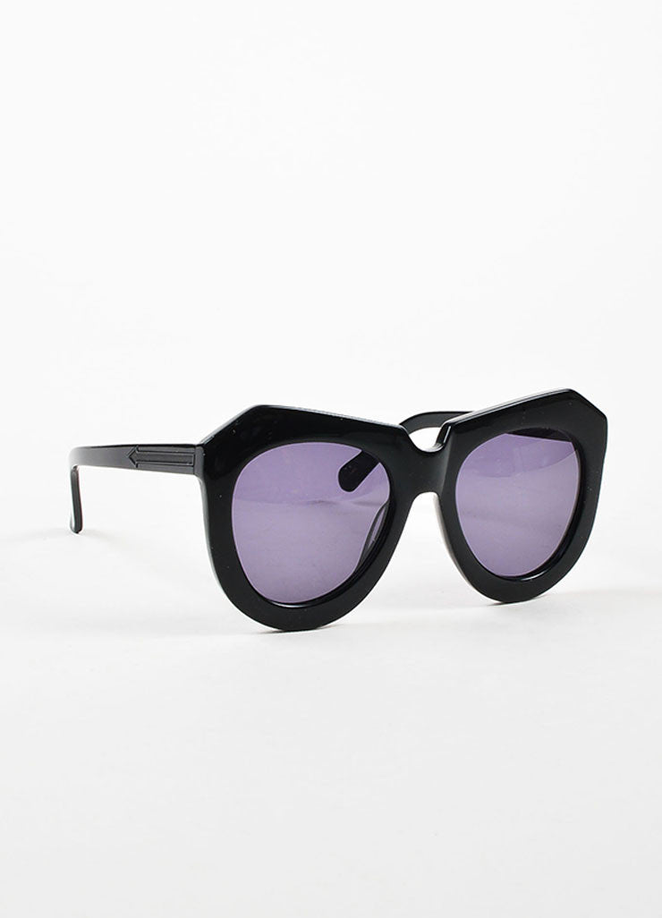 "Karen Walker Black ""One Worship"" Oversized Sunglasses Sideview"