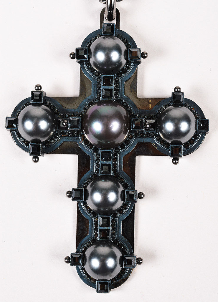 Lanvin Antiqued Silver Toned Black Faux Pearl Crystal Cross Necklace Detail