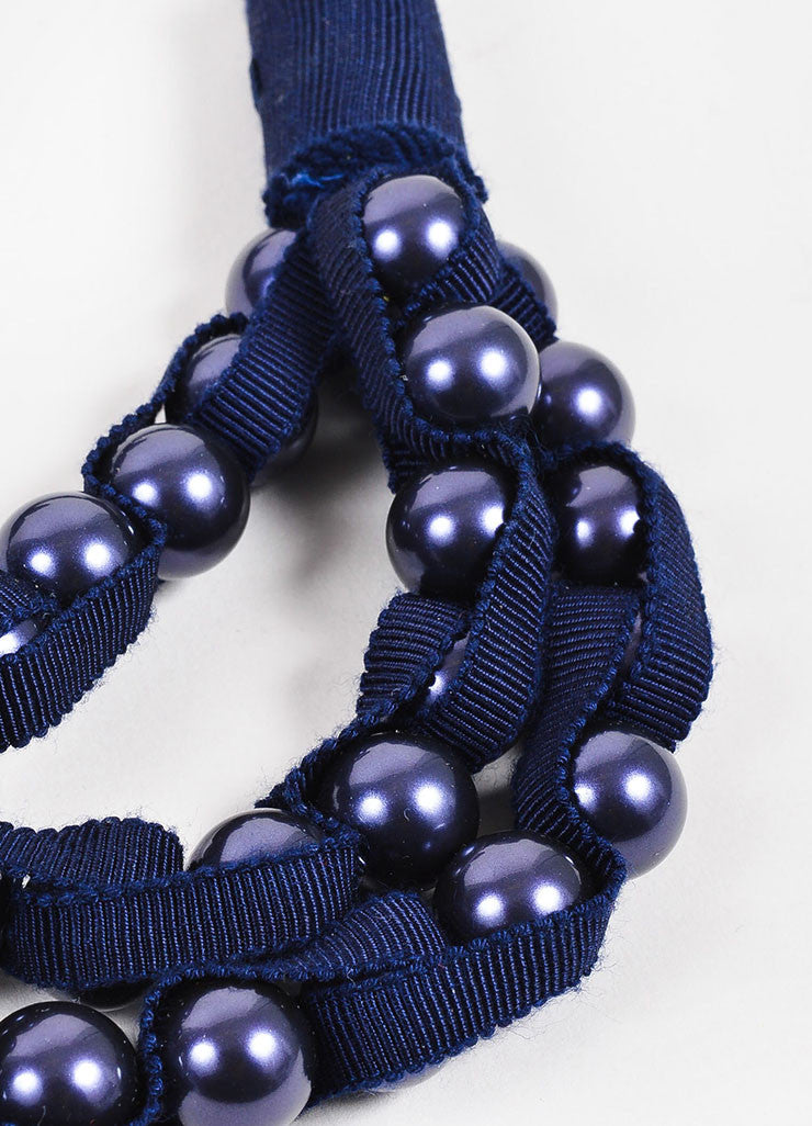 Navy Blue Lanvin Faux Pearl Grosgrain Ribbon Tie Necklace Detail