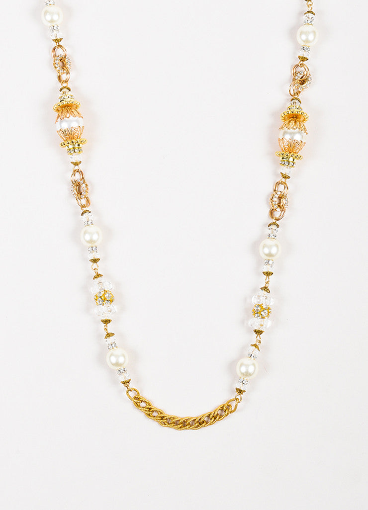 Lawrence Vrba Gold Toned White Faux Pearl Crystal Embellished Strand Necklace Detail