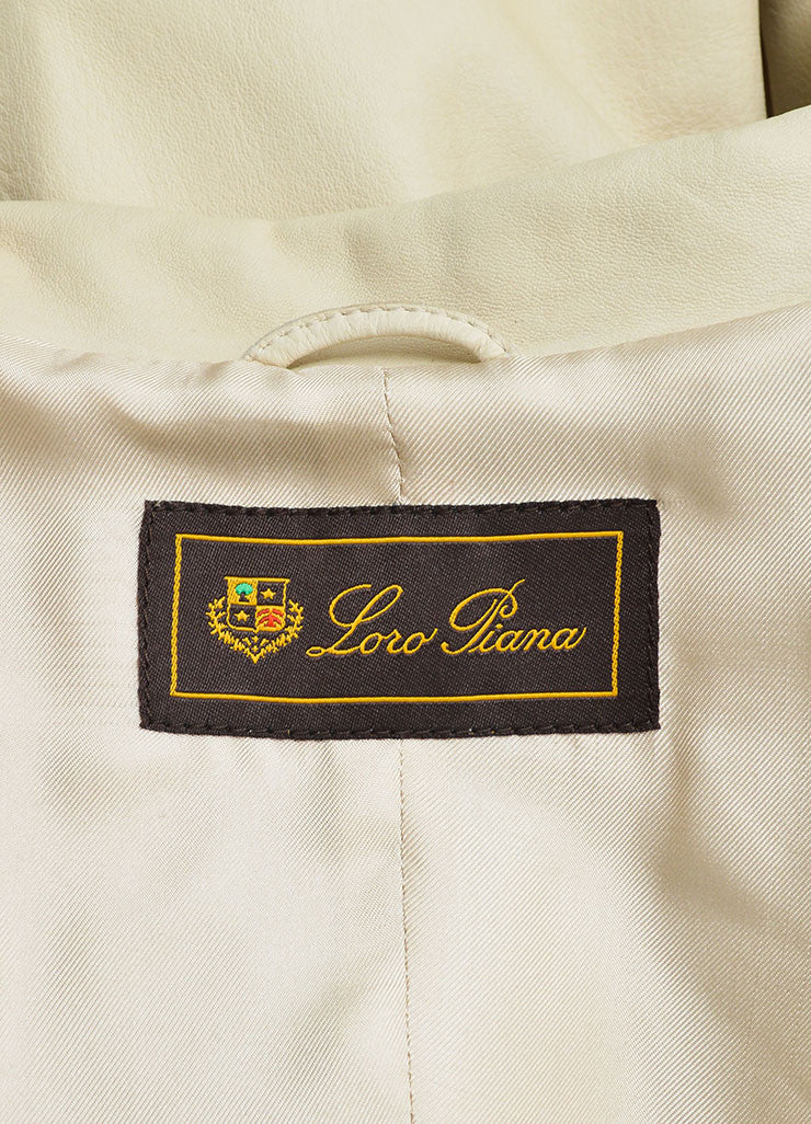 Loro Piana Cream Leather Button Up Trench Coat Brand