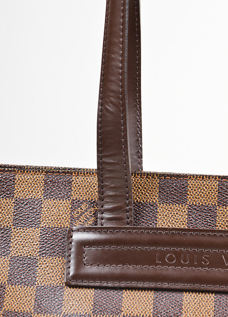 "Brown Louis Vuitton Coated Canvas Damier Print ""Paroli PM"" Shoulder Bag Detail 2"