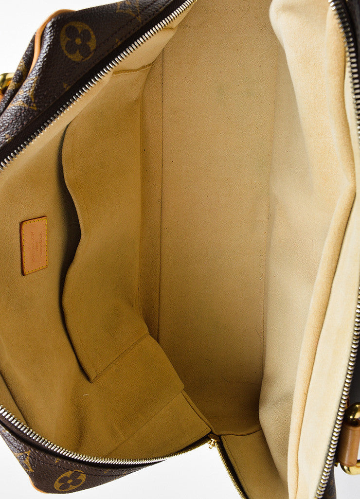 "Brown and Tan Louis Vuitton Canvas and Leather LV Monogram ""Manhattan GM"" Statement Bag Interior"