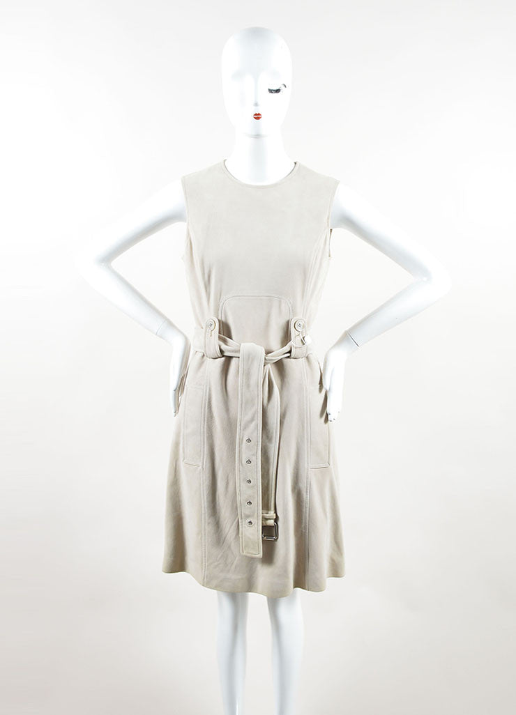 Michael Kors Taupe Suede Belted Sleeveless Dress Frontview