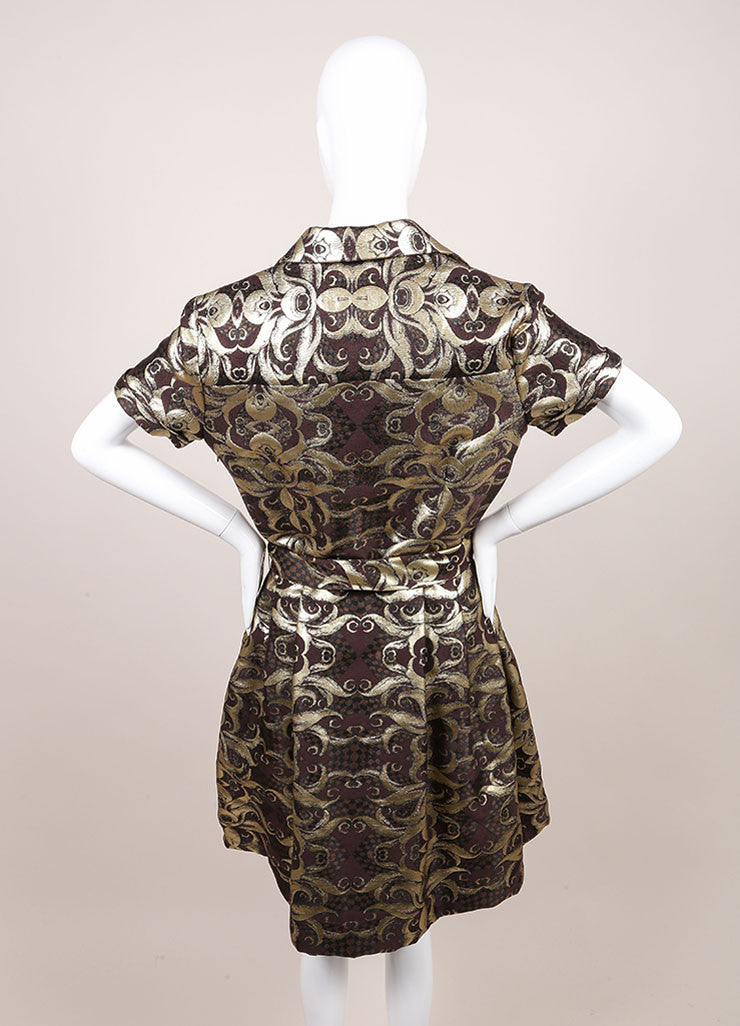 Naeem Khan New With Tags Gold and Brown Brocade Short Sleeve Belted Wool and Silk Shirt Dress Backview