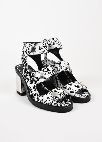 "Opening Ceremony White Black Leather Velvet ""Isa"" Strappy Sandals Front"