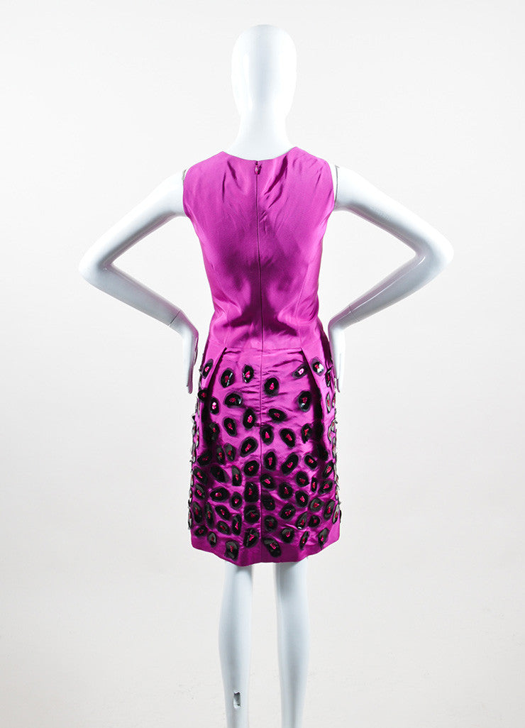 Fuchsia and Black Oscar de la Renta Silk Sequin Embellished Sheath Dress Backview