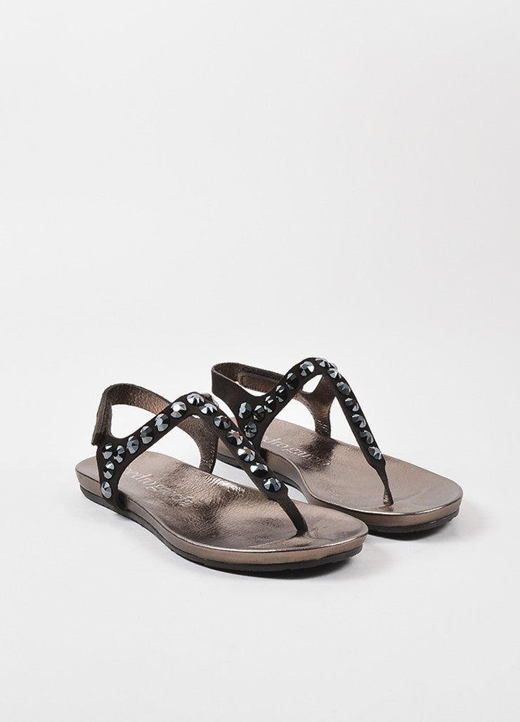 "Brown Pedro Garcia Suede ""Judith"" Crystal Stud Thong Sandals Front"