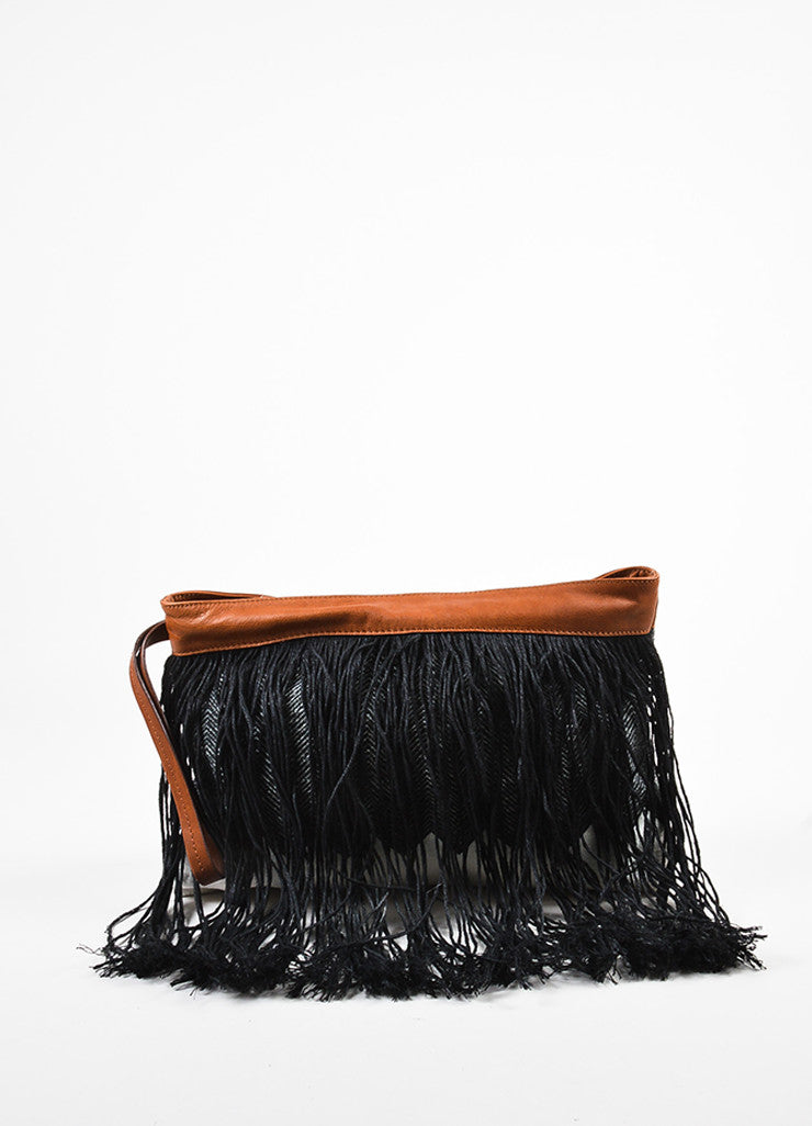 Pomandere Black, Brown, and White Canvas and Leather Fringed Herringbone Clutch frontview