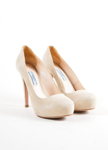 Prada Beige Suede Leather Hidden Platform Almond Toe Pumps Frontview