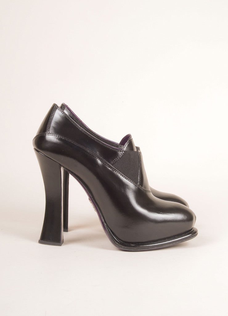 Prada Black Leather Curved Heel Platform Booties Sideview