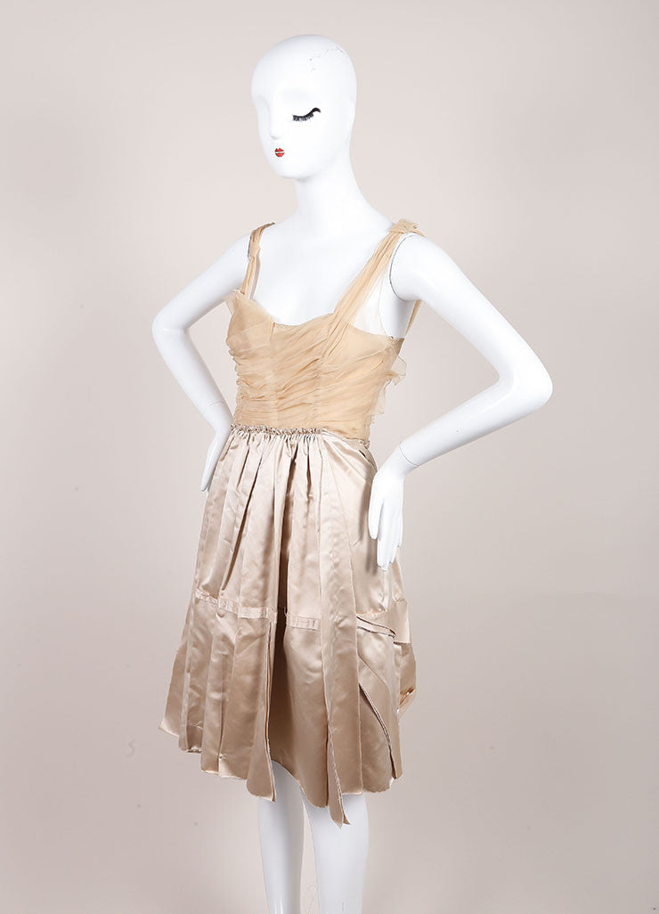 Prada Champagne and Taupe Satin Chiffon Ruched Flared Sleeveless Dress Sideview