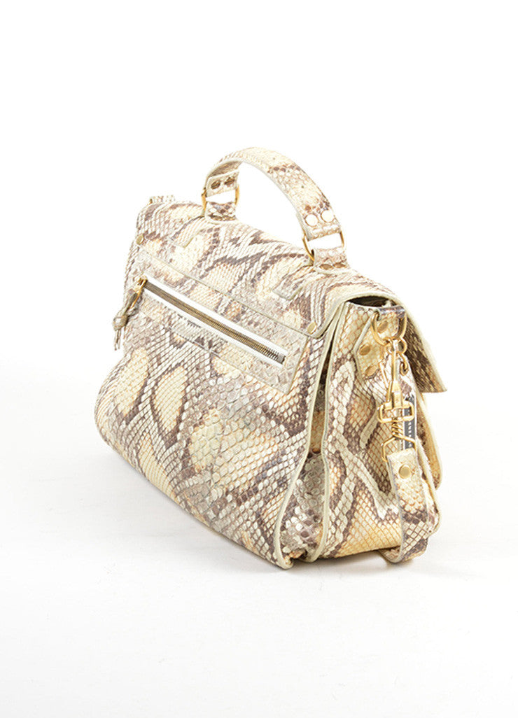 "Proenza Schouler Cream and Grey Python Leather ""PS1 Medium"" Satchel Bag Sideview"
