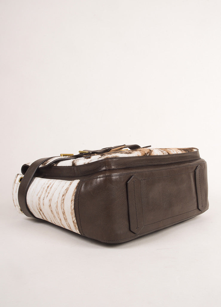 "Reed Krakoff Brown and Cream Animal Print Pony Hair and Leather ""Boxer"" Tote Bag Bottom View"