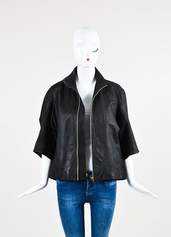 ¥éËRick Owens Black Leather Cropped Sleeve Wide Zip Jacket Frontview