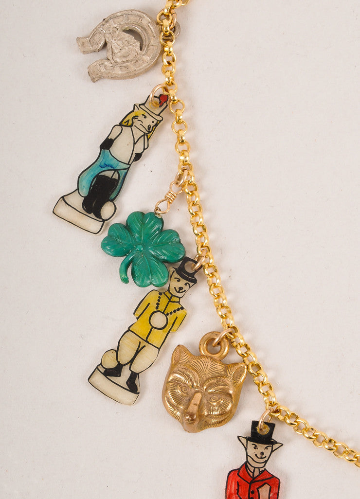 Rodarte New Gold Toned and Multicolor Fox and Hound Charm Necklace Detail 2