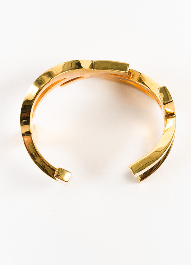 Gold Tone Saint Laurent Signature Monogram Cuff Bracelet Top