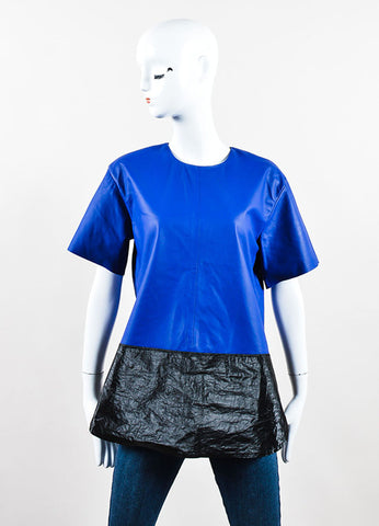 T Alexander Wang Blue Black Leather Textured Tyvek Tunic Top  Front