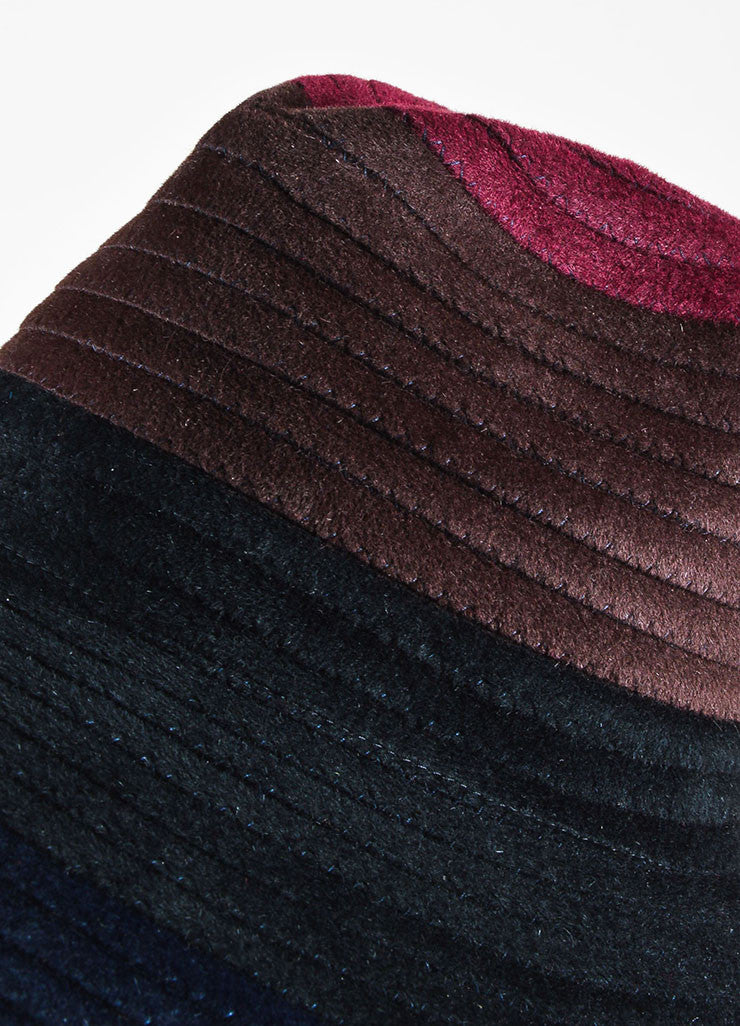 ¥éËThomas Maier Maroon, Brown, and Navy Ombre Rabbit Hair Floppy Sun Hat Detail