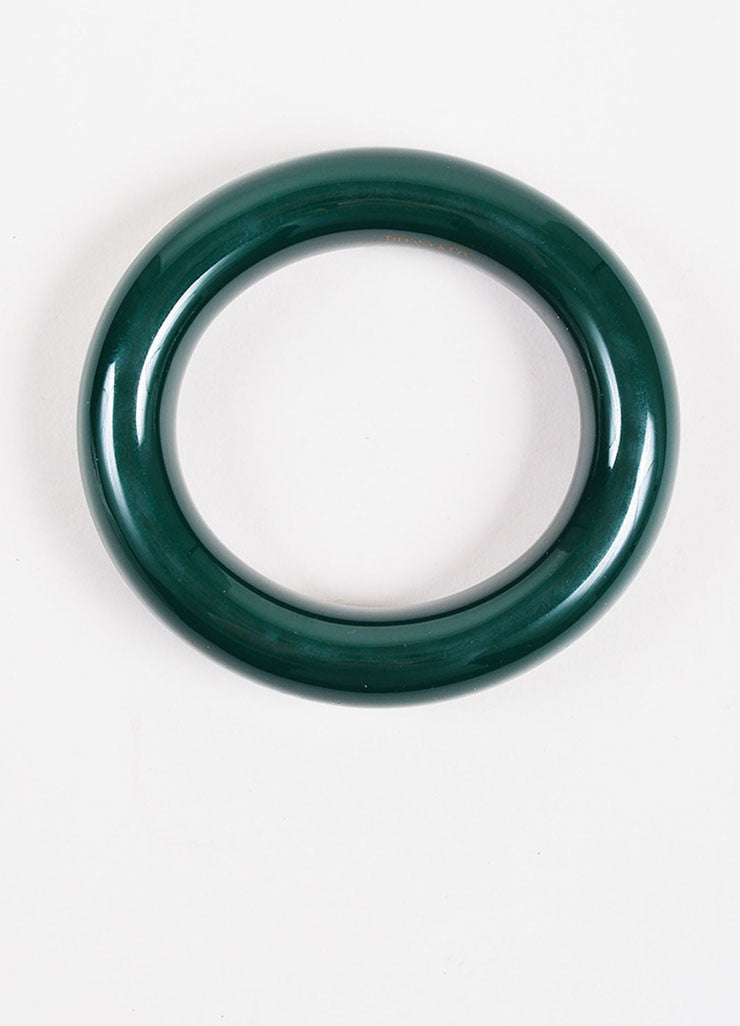 "Tiffany & Co. Elsa Peretti Green Lacquered Japanese Hardwood ""Doughnut"" Bangle Topview"