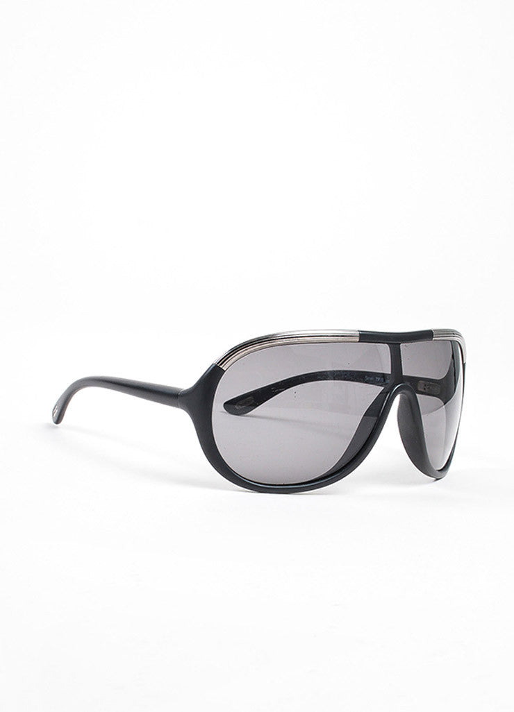 "Tom Ford Black and Silver Toned Matte Frame ""Farrah"" Aviator Sunglasses Sideview"