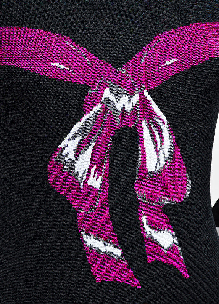 Black and Fuchsia Alaia Long Sleeve Bow Bodycon Dress Detail