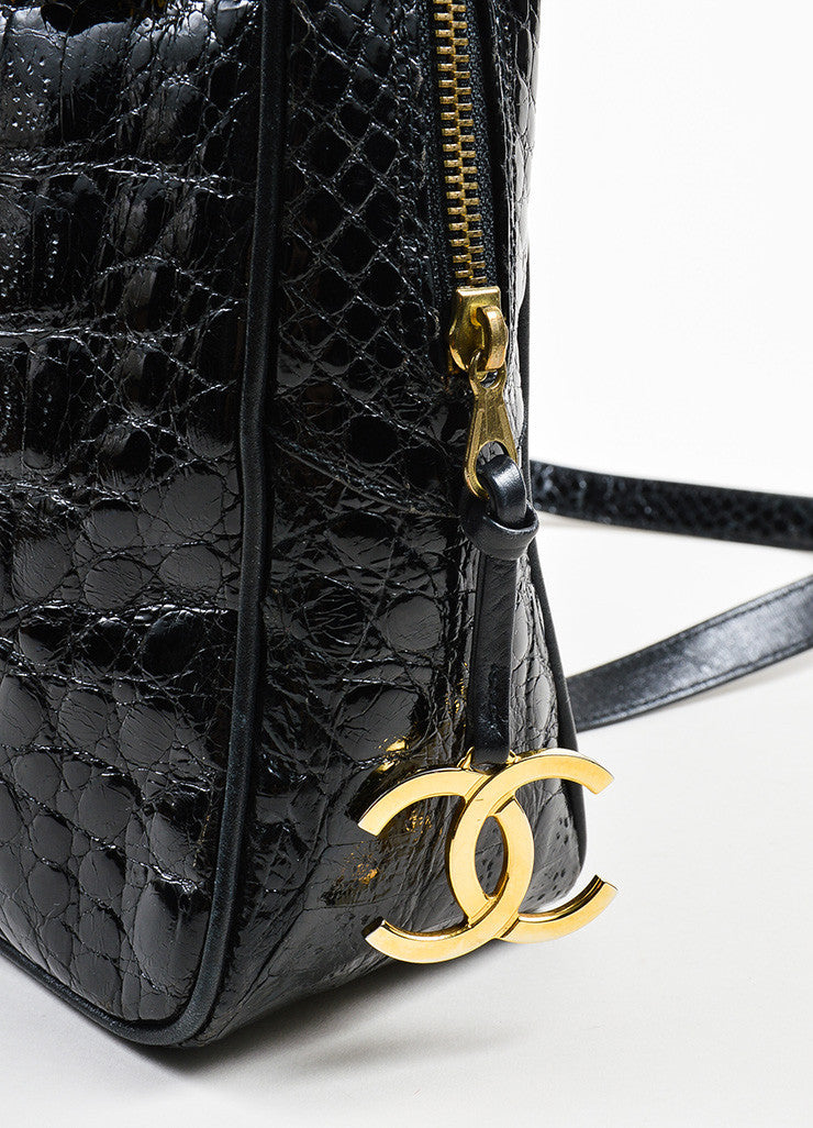 "Black Chanel Crocodile Gold Toned ""CC"" Logo Zip Dual Handle Shoulder Bag Detail 3"