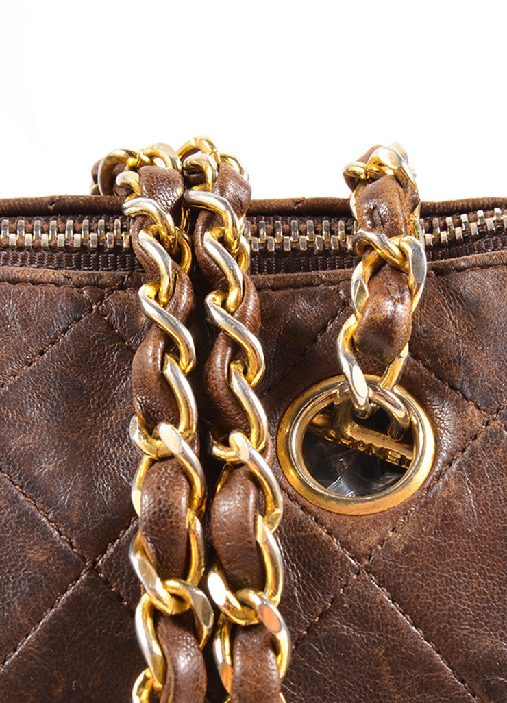 "Chanel Brown Leather Quilted ""CC"" Chain Strap Bowler Shoulder Bag Detail 2"