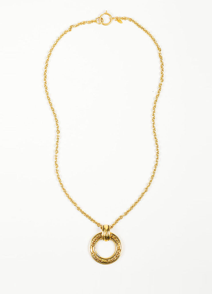 Gold Toned Chanel Hammer Ring Pendant Long Chain Necklace Frontview