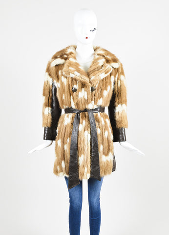 Furs by Talidis Brown and Cream Mink and Leather Belted Coat Frontview