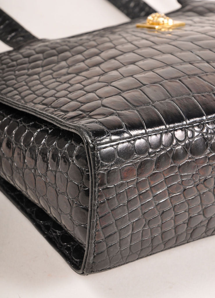 Gianni Versace Black Crocodile Embossed Leather Small Shoulder Bag Detail