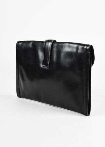 "Hermes Black Canvas and Box Calf Leather 'H' ""Jige"" PM Clutch Bag Sideview"