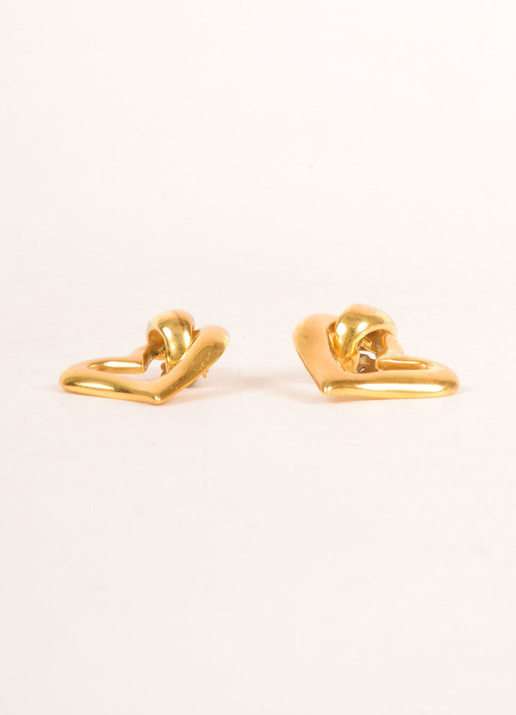 Yves Saint Laurent Gold Toned Open Heart Earrings Sideview
