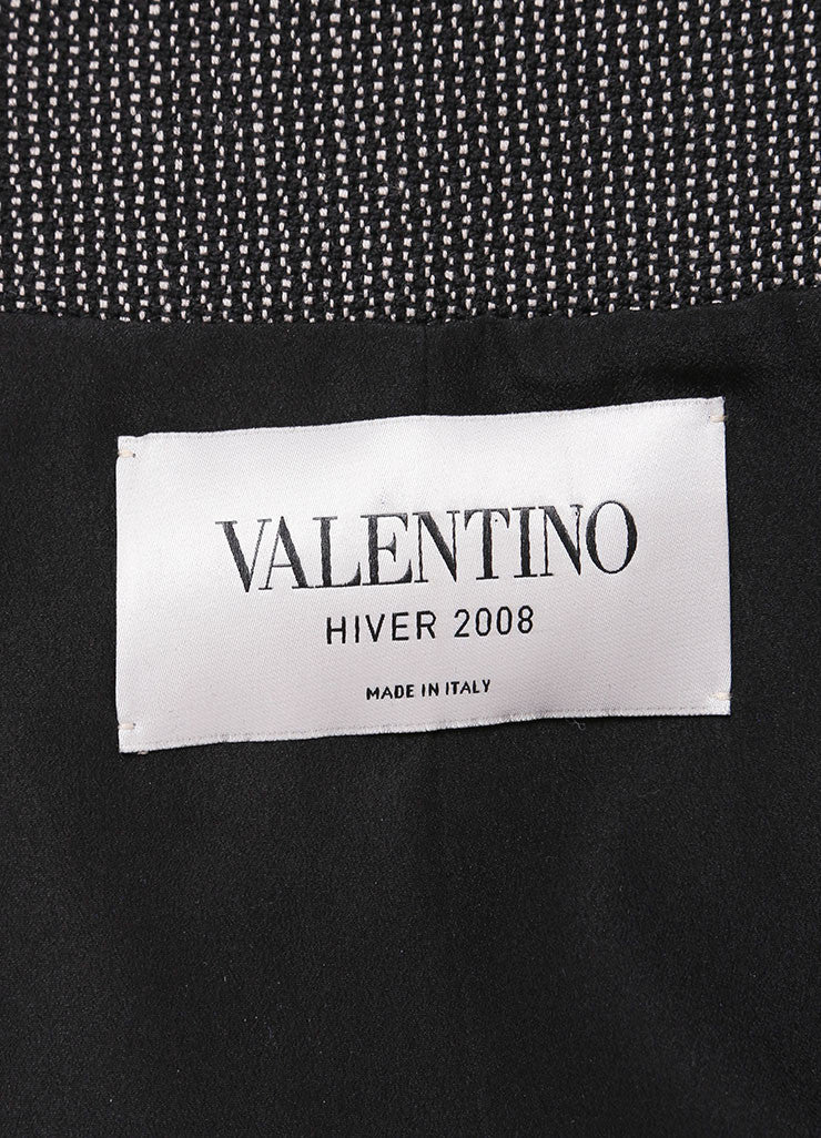 Valentino Black And White Wool Mohair Ruffle Trim Ribbon Belt Jacket Tag