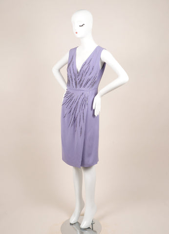 Valentino Lilac Silk Rhinestone Embellished Sleeveless V-Neck Wrap Dress Sideview