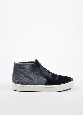 "Grey and Black Vince Pony Hair and Felt High Top ""Beck 2"" Slip On Sneakers Sideview"