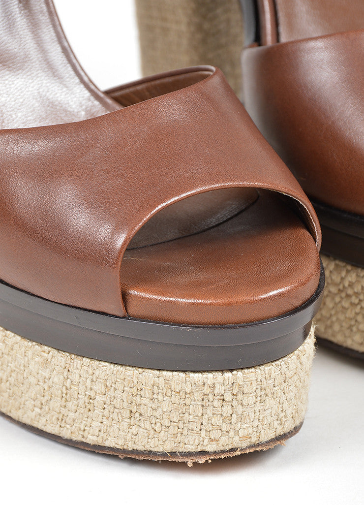 "Brown Yves Saint Laurent Leather and Linen Platform ""Flirty"" Sandals Detail"