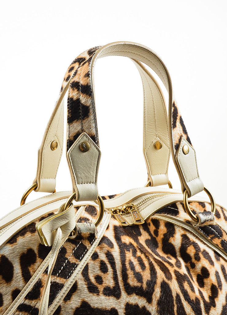 "Yves Saint Laurent Cream Leopard Print Pony Hair Leather ""Large Muse"" Bag Detail 3"