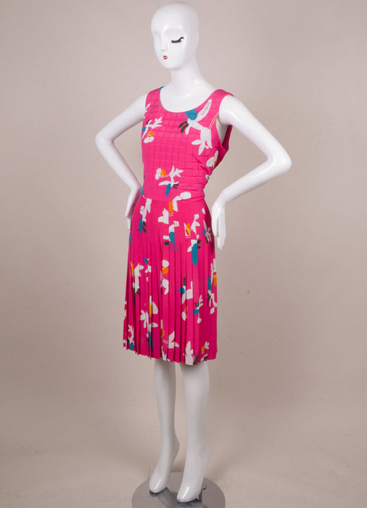 Chanel Pink, White, and Teal Floral Print Silk Quilted Dress Sideview
