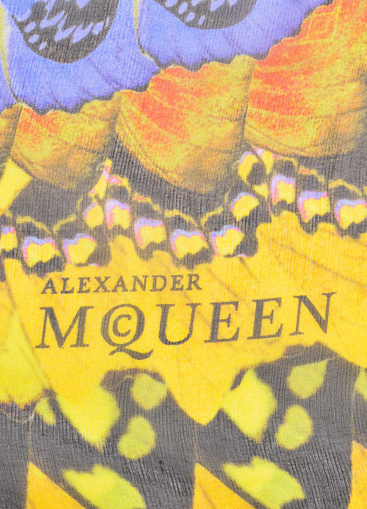 Multicolor Alexander McQueen Butterfly Wing Printed Scarf Brand