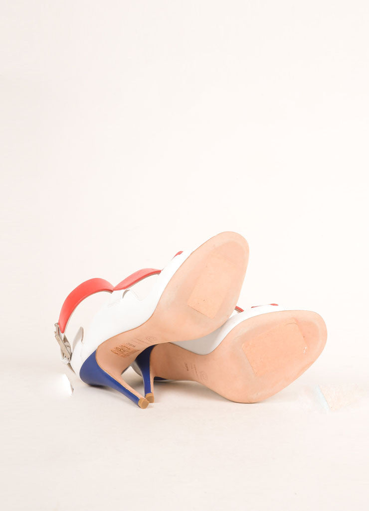 Alexander McQueen White, Red, and Blue Leather Strappy Open Toe Pumps Outsoles