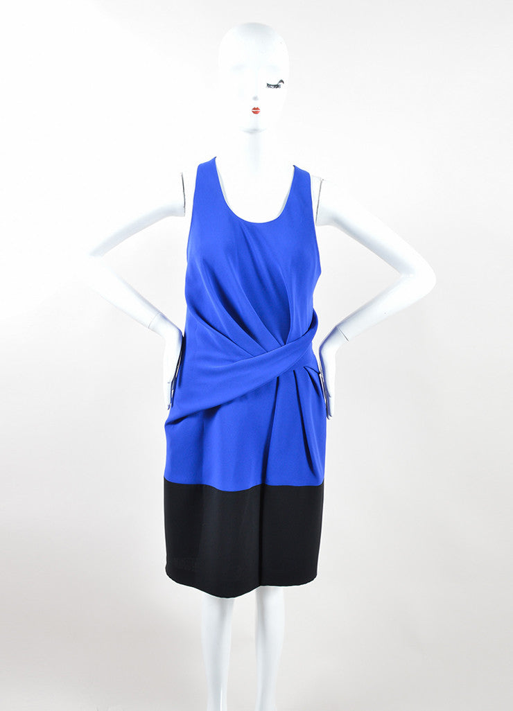 Alexander Wang Sapphire Blue Black Racerback Drape Dress Frontview