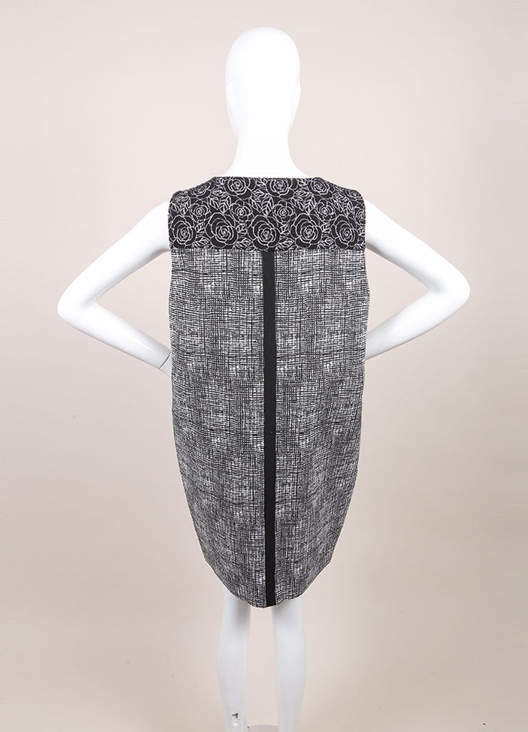 Andrew Gn New With Tags Black and White Tweed Floral Embroidered Sleeveless Dress Backview