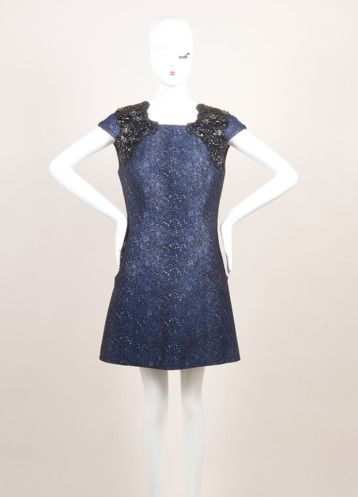 Andrew Gn New With Tags Metallic Blue and Black Cotton Beaded Shoulder Dress Frontview