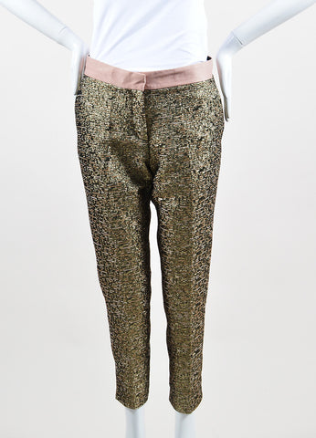 "Gold Metallic and Blush By Malene Birger Jacquard Cropped ""Cortensa"" Pants Frontview"