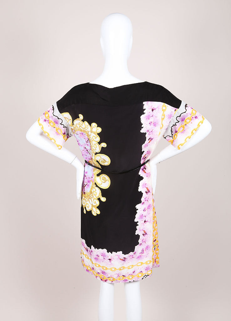 CLASS Roberto Cavalli New With Tags Black and Purple Silk Floral Print Shift Dress Backview