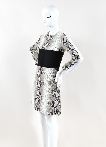 Carven Black, Grey, and White Python Print Long Sleeve Dress Sideview